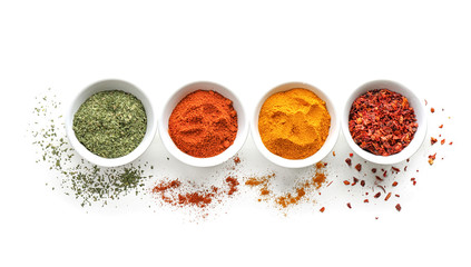 Bowls with various spices on white background