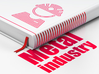 Industry concept: closed book with Red Factory Worker icon and text Metal Industry on floor, white background, 3D rendering