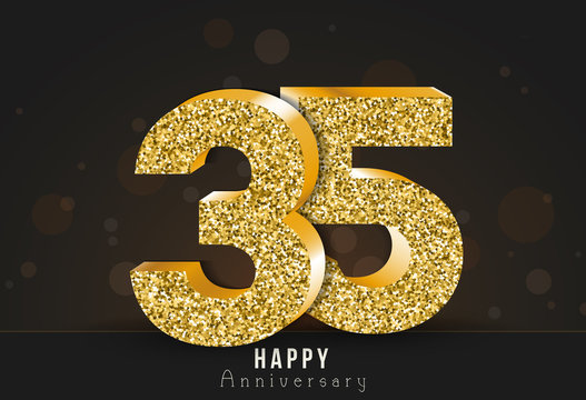 35 - year happy anniversary banner. 35th anniversary gold logo on dark background.