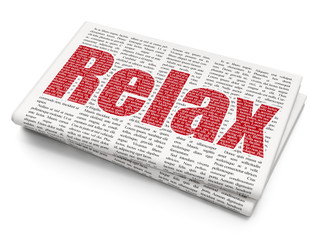 Vacation concept: Pixelated red text Relax on Newspaper background, 3D rendering