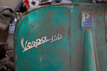 A detail of a Vespa scooter is seen in Karachi