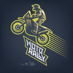 Moto rally. Vector sport emblem on dark background