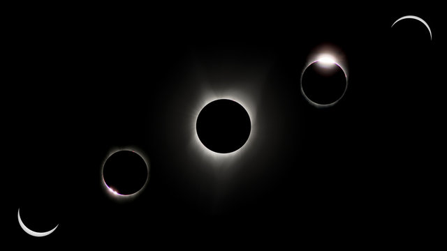 USA. Idaho. Idaho Falls. Rexburg. Total eclipse of the sun of August 21, 2017. Rosary showing the main phases of the eclipse.