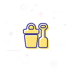 Sand bucket with shovel icon. Elements of beach holidays icon