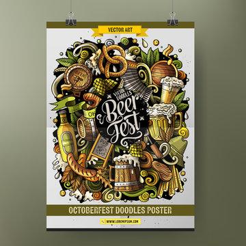 Cartoon hand drawn doodles Beer fest poster design