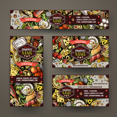 Corporate Identity vector templates set design with doodles hand drawn Pizza theme