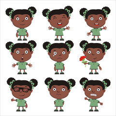 Set of little funny girl in cartoon style isolated on white background.