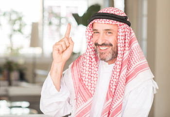 Middle age arabian man at home surprised with an idea or question pointing finger with happy face, number one