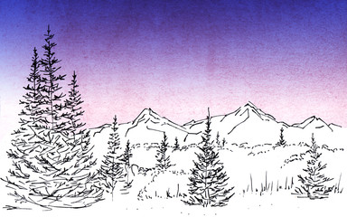 Landscape with a mountain chain and forest. In foreground there are three tall firs. Hand-drawn linear illustration on paper. Sketch with ink on toned with watercolor and digital gradient background.