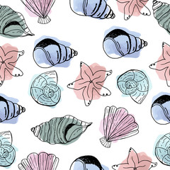 Shells. Beautiful and bright pattern. Hand drawing. Summer. Nautical. Prints for clothes and postcards. For your design.