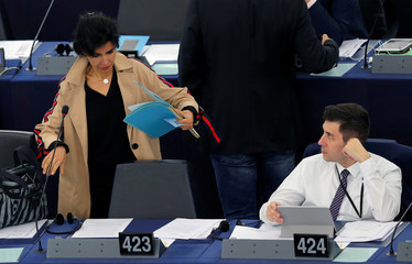 France's MEP Dati arrives to take part in a voting session at the European Parliament in Strasbourg