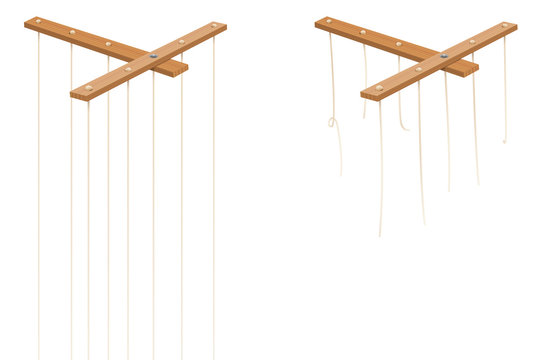 Marionette control bar with intact and broken strings. Torn cords as a symbol for freedom, independence, autonomy, liberty, detachment, release or escape. Isolated vector on white.