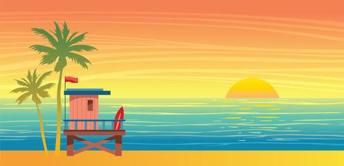 Summer landsape - lifeguard station, sea, palm and sunset.