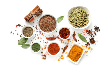 Variety of spices on white background