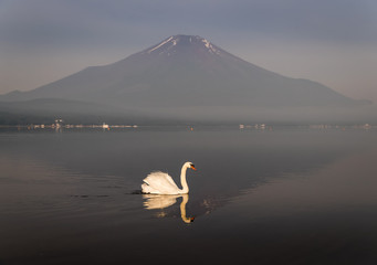 Foto auf Leinwand Reflexion Mountain Fuji with reflection at Lake Yamanakako in morning