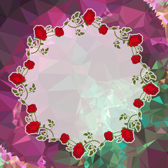 Round frame with red roses on a square mosaic background