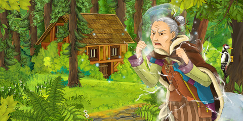 cartoon scene with older woman in the forest near hidden wooden house - illustration for children