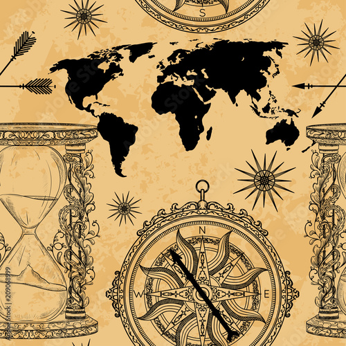 Seamless Pattern With Vintage Hourglass Compass World Map And Wind