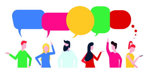 Businessmen social conversation network discuss, social network chat or dialogue with chat bubbles flat style vector illustration isolated on white background. Sharing news, messages or ideas concept.