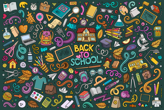 Vector doodle cartoon set of School objects and symbols