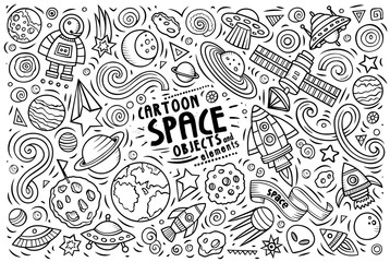 Doodle cartoon set of SPACE theme objects and symbols