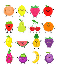 Funny cartoon set of different fruits. Smiling peach, lemon, man