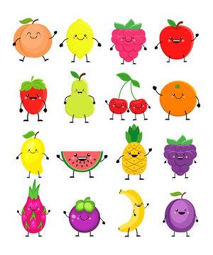 Funny cartoon set of different fruits. Smiling peach, lemon, man