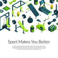 Vector isometric gym with place for text