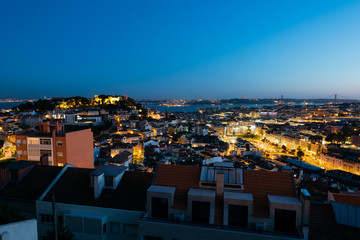 : Elevated view of Lisbon skyline.