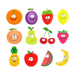 Funny cartoon set of different fruits. Smiling peach, lemon,  wa