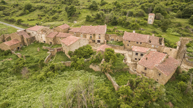 Navabellida abandoned village view in Soria province, Spain