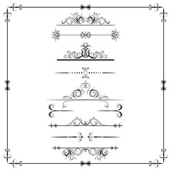 Set of calligraphic element. Beautiful ornament,  elements for a frame, dividers, filigree decoration, curls, vector, isolated on a white background