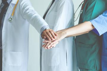 Teamwork doctor on white background