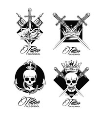 Set of tattoo design emblems collection vector illustration graphic