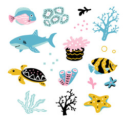 Vector illustration of cute funny baby ocean animals set for print,poster,scandinavian design