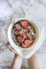 Healthy Breakfast Bowl with Strawberries & Seeds