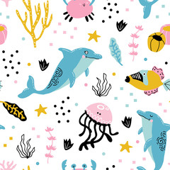 vector seamless background pattern with funny baby dolphins for fabric, textile