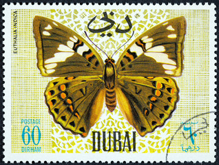 A stamp printed by Dubai, shows Butterfly, Euthalia Indica