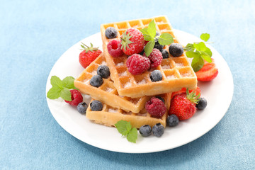 waffles with berries fruits