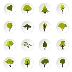 Green tree icons set. Flat illustration of 16 green tree vector icons set illustration
