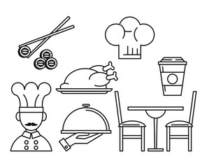Set of restaurant and food icons vector illustration graphic design