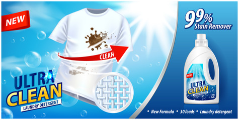 Laundry detergent, stain remover ad template. Ads poster design on blue background with white t-shirt. Vector illustration
