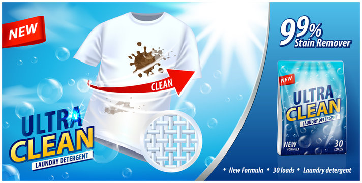 Laundry detergent, stain remover ad vector template. Ads poster design on blue background with white t-shirt and stains