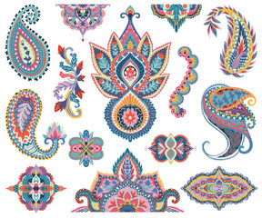 Paisley set. Oriental decorative design elements for fabric, prints, wrapping paper, card, invitation, wallpaper. Vector illustration