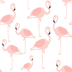 Beautiful vector floral summer pattern background with flamingo. Perfect for wallpapers, web page backgrounds, surface textures, textile.
