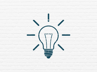 Finance concept: Painted blue Light Bulb icon on White Brick wall background