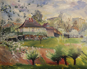 Art painting of spring landscape