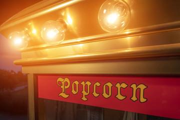 Popcorn machine with lights on
