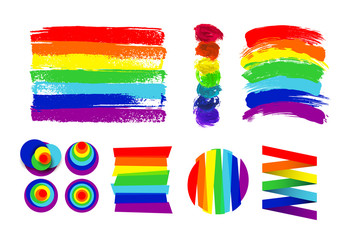 Set of LGBT flag, circle and color spots against homosexual discrimination. Hand drawn. Rainbow. Vector illustration. Isolated on white background