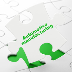 Manufacuring concept: Automotive Manufacturing on White puzzle pieces background, 3D rendering